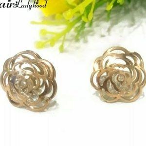 Rose gold Camellia earrings.